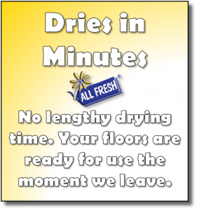Dries in Minutes, no lengthy drying time. Your floor are ready to use the moment we leave.