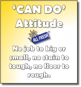 Can Do attitude, no job to big or small, no stain to tough, no floor to rough.